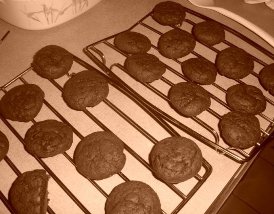 cocoa fudge cookies cooling